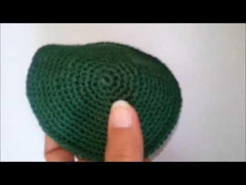 Handmade Green Kippah Jewish Judaica Small size Knitted Yarmulke for kids
