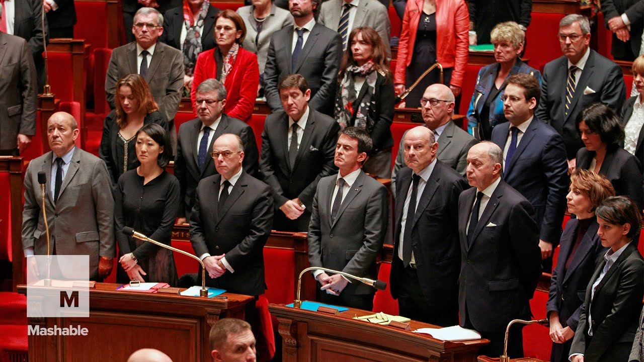 After moment of silence, politicians sing French national anthem to honor attack victims    Mashable