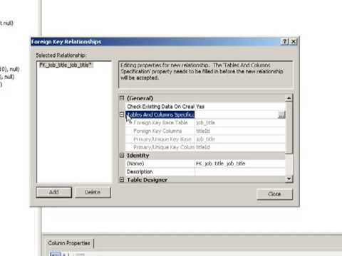 Creating Foreign Keys In MS SQL Server Studio