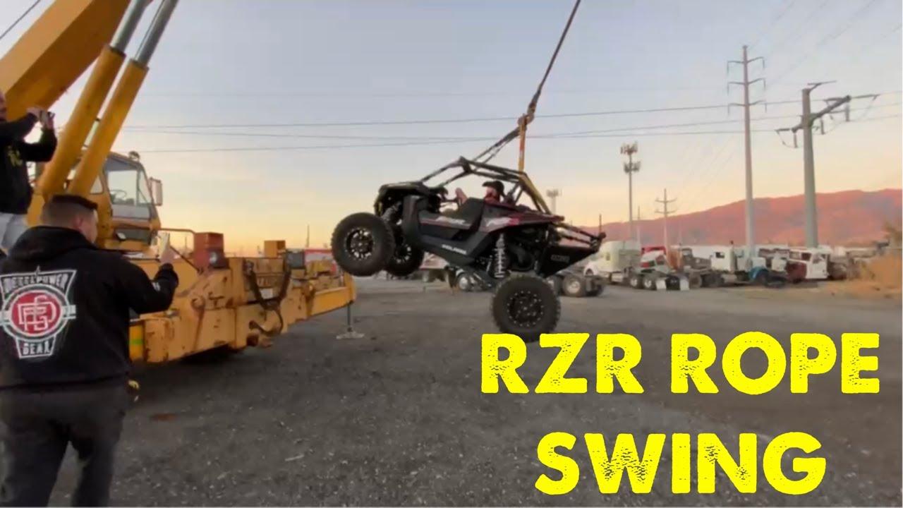 Rope swinging my Polaris RZR from a crane!