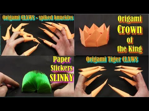 Origami of STICKERS ✦ IN ENGLISH✦ (SLINKY, TIGER CLAWS 2in1, CROWN) MOST EASY Origami for kids DIY