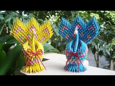 HOW TO MAKE 3D ORIGAMI PEACOCK V4 | DIY PAPER PEACOCK HANDMADE DECORATION