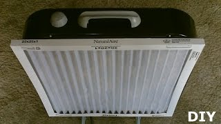 """DIY Air Filtration System!  - Homemade Air Purifier - Simple """"box fan"""" conversion! - very effective!"""