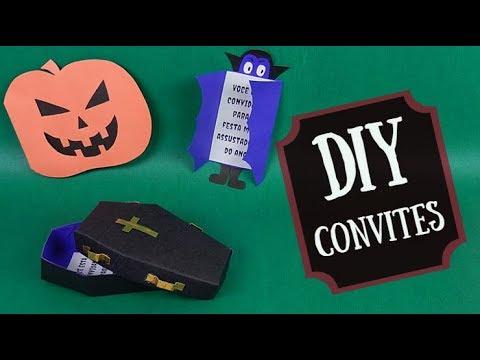 Como fazer convites para festa de halloween (3 modelos). DIY Halloween invitations. Por Pricity