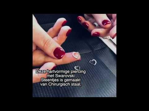 Piercing Ring - Swarovski Elements Heart- Piercings Works Amsterdam