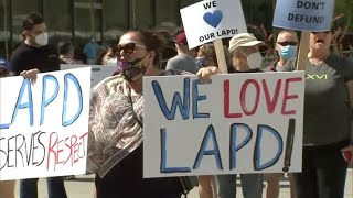 Dozens show support for police outside LAPD Headquarters in Downtown Los Angeles