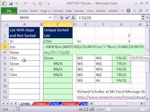 Excel Magic Trick 759: Array Formula To Sort List & Remove Duplicates - Dynamic Named Range