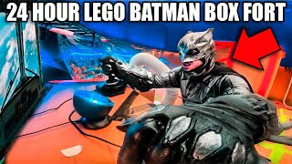 24 HOUR LEGO BATMAN BOX FORT! Working Batwing, Batcave & More!