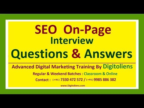 SEO On Page Interview questions and answers