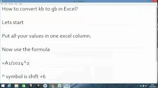 How To Convert Kb To Gb In Excel