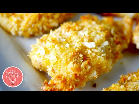 Crispy Coconut Chicken Strips - Oven Baked Chicken - Куриные палочки в кокосовой стружке