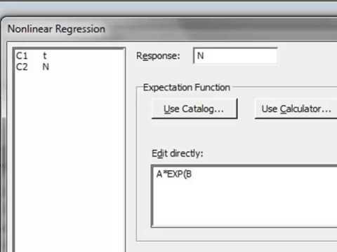 Nonlinear regression (Minitab)