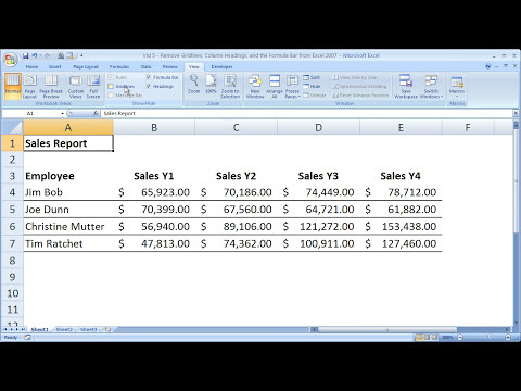Excel Formatting 5 - Remove Gridlines, Headings, and The Formula Bar in Excel 2007