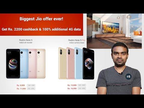 Jio ₹2200 CashBack, Xiaomi TV on Flipkart, BSNL 6 Month Free, Redmi Note 5 Pro & Note 5