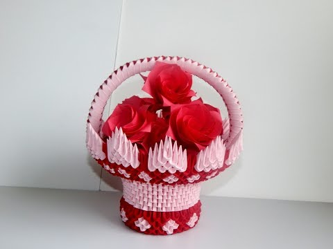 3D Origami  basket tutorial ||  DIY paper basket