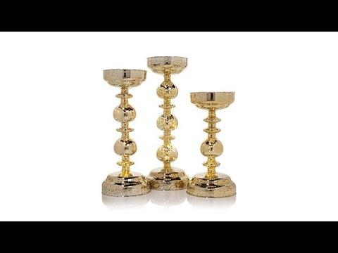 Winter Lane Set of 3 Mercury Glass Candleholders