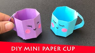 DIY MINI PAPER CUP / Paper Crafts For School / Paper Craft / Easy origami paper Coffee Cup