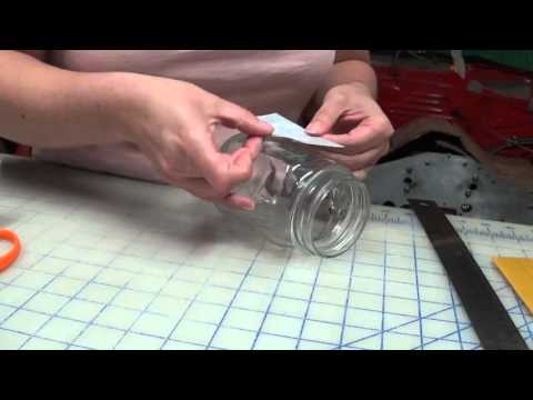 Applying One-Time Use Vinyl Glass Etching Stencil to Drinking Jar or Mason Jar