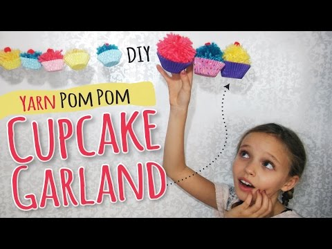 How to Make Yarn Pom Pom Cupcakes | Kids Craft by Three Sisters | DIY Party Decor