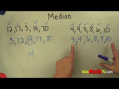 Video on how to find the median in a data set, 4th, 5th, 6th, 7th grades