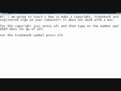 How to make a copyright and trademark symbol on your computer!