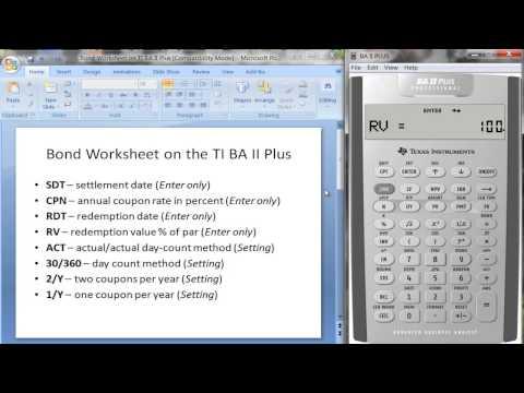 Bond Worksheet on TI BA II Plus Calculator