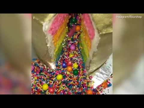 Flour Shop bakery makes beautiful rainbow cakes with candy inside