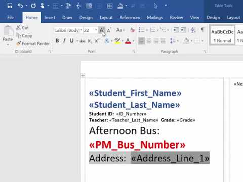 Word and Excel 2016 - Mail Merge to Create Labels