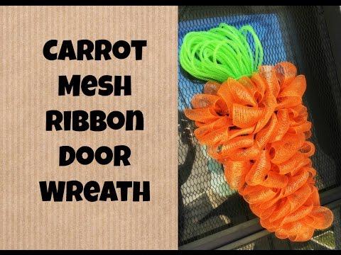 Easter/Spring Carrot Mesh Ribbon Wreath Tutorial