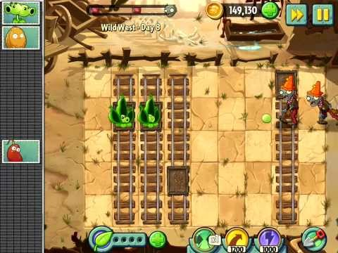 Plants vs. Zombies 2 - Wild Wild West - Day 8 (Gargantuar) [PvZ 2 Walkthrough]