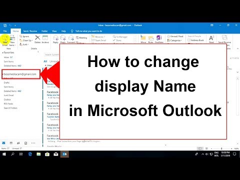 How to change display account name in Ms Outlook 2019