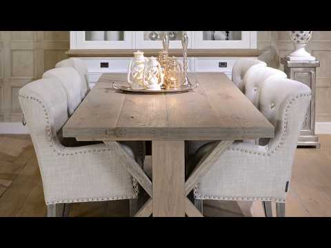 Hoxton Rustic Oak Trestle Dining Table | Modish Living