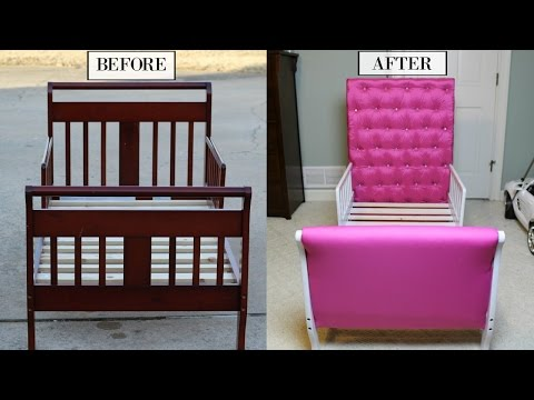 EASY DIY TODDLER PRINCESS BED | TUFTED DIAMOND HEADBOARD TUTORIAL