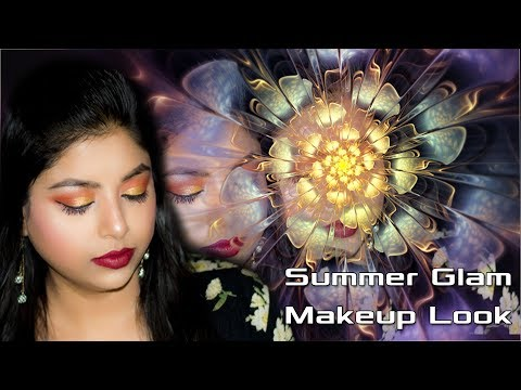 Easy Glamorous Summer Makeup Look Tutorial 2018 | Red And Golden Glitter Eyes Makeup | Indian Makeup