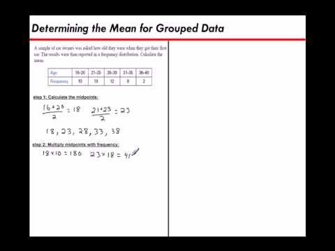 Determining the Mean for Grouped Data