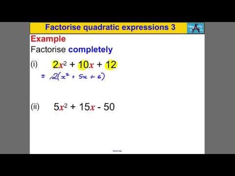 Factorise quadratic expressions 3