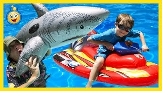 GIANT Inflatable Shark, Water Balloons Fight & Pool Tricks w/ Water Toys Family Fun Video for Kids
