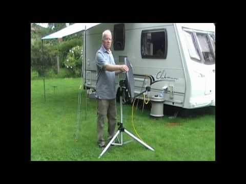 Aiming a mobile satellite dish using a Sky receiver