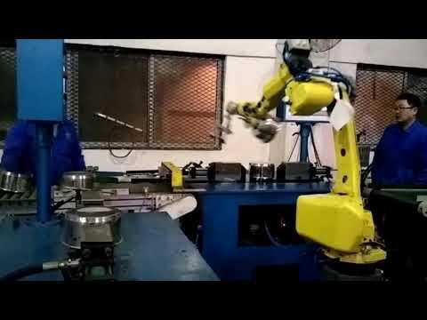 Pot body lid hole punching machine with robot