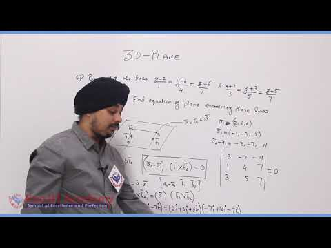 3D Plane Maths Part-3 std 12th HSC Board Video Lecture BY Rao IIT Academy