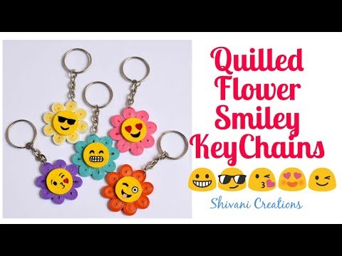 Quilled Flower Smiley Keychain/ DIY Quilling Keychains