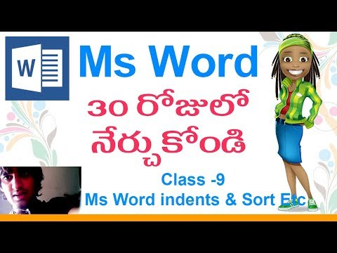 Ms Office in Telugu | Ms Word Classes in Telugu - Class -9| 👌 | Ms-Word Indents & Sort !!!