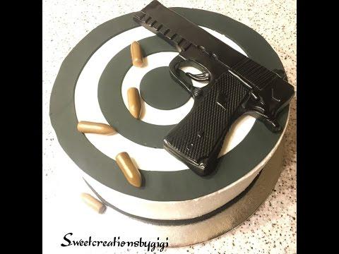 Fondant Gun Topper & Target on Buttercream Cake