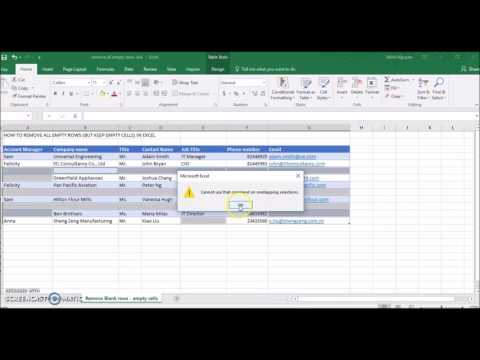 How to remove all blank rows in Excel (but keep the empty cells)