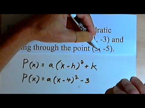 Using the Vertex Form to find a Quadratic Function 143-3.2.1