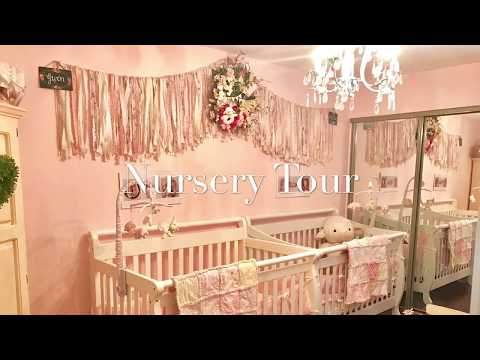 Twin Shabby Chic Nursery Room Tour. Pink and white decor