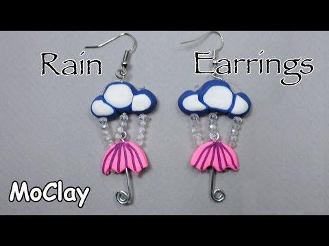 How to make Rain earrings :-)  Polymer clay tutorial