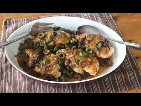 Chicken and Olives Recipe - Chicken Breasts Braised with Olives