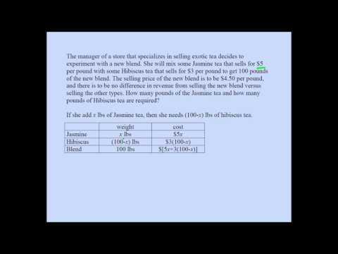 College Algebra/High School Mixture Word Problem