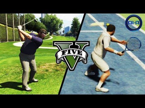 GTA V Gameplay - TENNIS & GOLF! SPORTS! - (Grand Theft Auto 5 Gameplay 2013 HD Xbox 360 PS3)